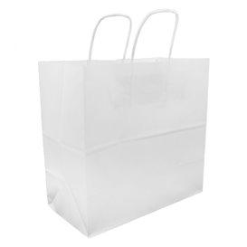 Sac en Papier Kraft Blanc avec Anses 100g 27+14x26cm (200 Utés)