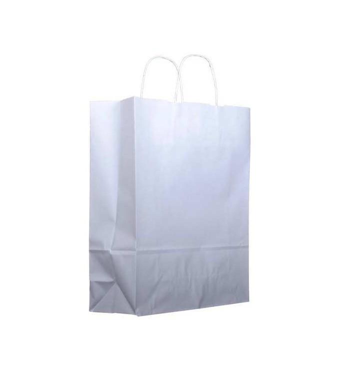 Sac en papier Blanc avec Anses KRAFT 100g 32+12x41cm (25 Utés)