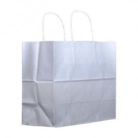 Sac en Papier Kraft Blanc avec Anses 100g 30+18x29cm (200 Utés)