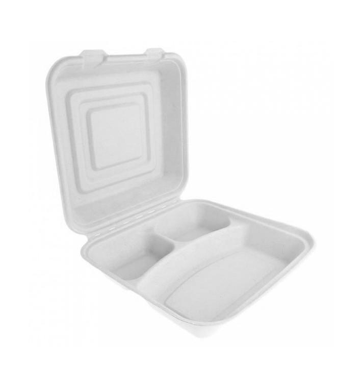 Boîte Bio en Canne à Sucre Blanc 3C 24x23x7,6cm (50 Utés)