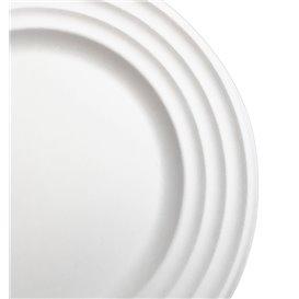 Assiette Canne à Sucre Premium Wave Blanc Ø23cm (50 Unités)