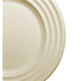 Assiette Canne à Sucre Premium Wave Naturel Ø23cm (50 Unités)
