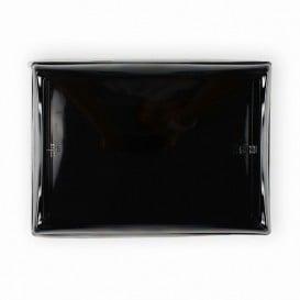 Plateau Rectangulaire Noir et Couvercle PET 16x22cm (120 Utés)