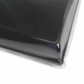 Plateau Rectangulaire Noir et Couvercle PET 16x22cm (15 Utés)