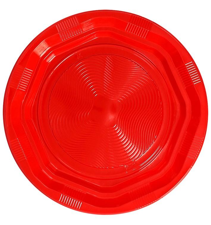 Assiette Plate Plastique Ronde Octogonale Rouge Ø22cm (275 Utés)