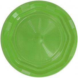 Assiette Plate Plastique Ronde Octogonal Vert Citron Ø220 mm (25 Utés)