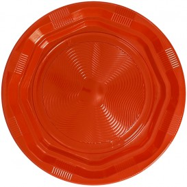 Assiette Plastique Ronde Octogonal Orange Ø220 mm (25 Utés)