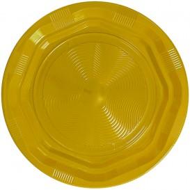 Assiette Plastique Ronde Octogonal Jaune Ø220 mm (25 Utés)
