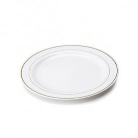 Assiette en Plastique Dur avec Liseré Or 23cm (20 Utés)