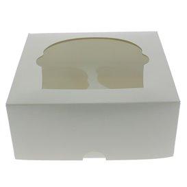 Boîte pour 4 Cupcakes Blanc avec insert (20 Unités)