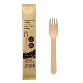 Fourchette en Bois Emballée 16cm (25 Utés)
