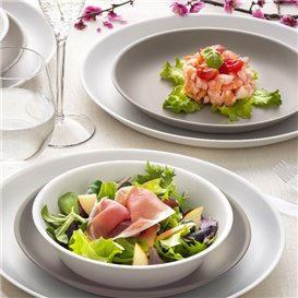 Assiette Réutilisable Premium PP Minéral Blanc Ø18cm (54 Utés)