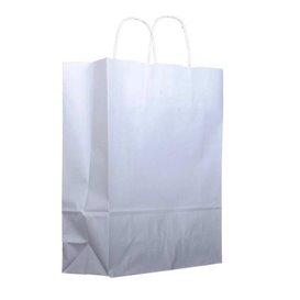 Sac en Papier Kraft Blanc avec Anses 100g 25+13x33cm (200 Utés)