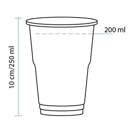 Gobelet Plastique PET Cristal 250ml Transparent (1250 Unités)