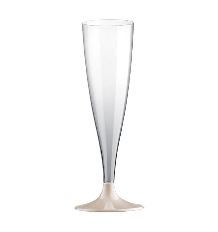 Flûte Champagne Plastique PS Réutilisable Pied Blanc 140ml 2P (48 Utés)