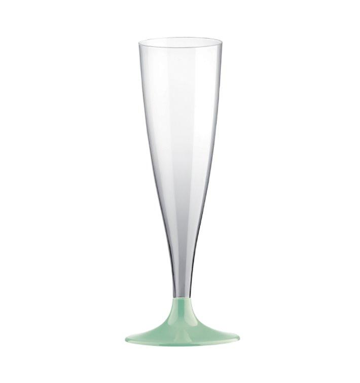 Flûte Champagne Plastique PS Réutilisable Pied Blanc 140ml 2P (6 Utés)