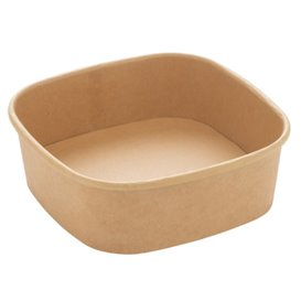 Pot Carré en Carton Kraft 350ml 13x13x4,3cm (300 Utés)