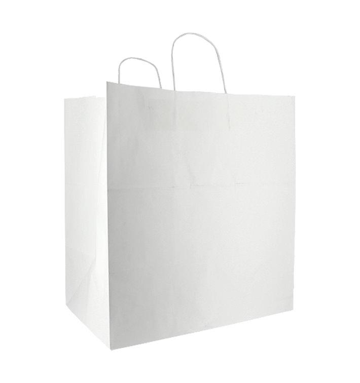 Sac en papier avec Anses Blanc 100g/m² 36+24x39cm (50 Utés)