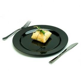 Assiette en Plastique Dur Noire 23cm (20 Utés)
