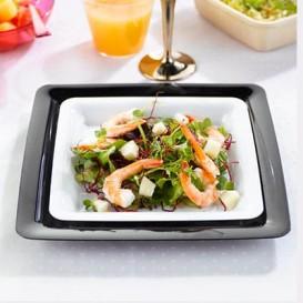 Assiette carrée Plastique dur Blanc 18x18 cm (200 Utés)