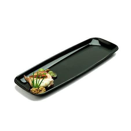 Assiette Rectangulaire en plastique dur Noir 17x45 cm (25 Utés)