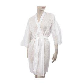 Kimono PP non Tissé avec Ceinture et Poche Blanc XL (10 Utés)