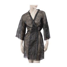 Kimono PP non Tissé avec Ceinture et Poche Noir (1 Utés)