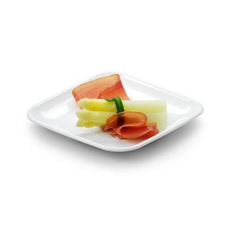 Assiette Carrée pour Dégustation Blanc 6x6x1cm (50 Utés)