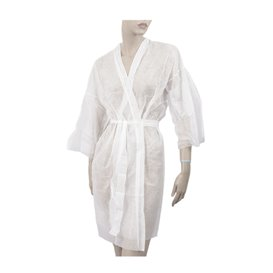 Kimono PP non Tissé avec Ceinture et Poche Blanc XL 15gr (10 Utés)
