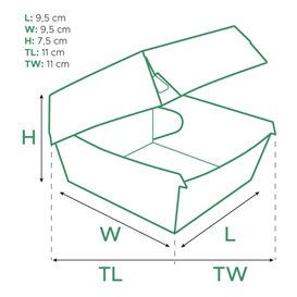 Boîte à Hamburgeur Carton Kraft 11x11x7,5cm (50 Utés)