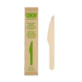 Couteau en Bois Jetable Emballée 16,5cm (500 Utés)