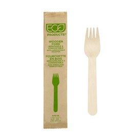 Fourchette en Bois Jetable Emballée 16cm (500 Utés)