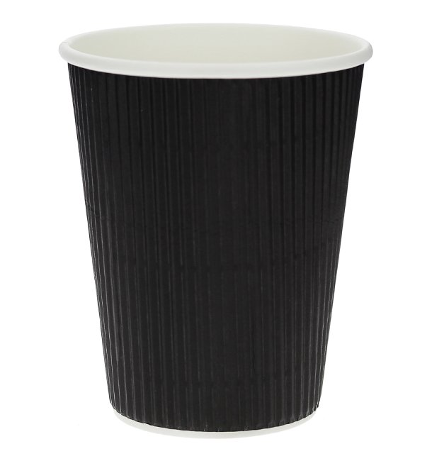 Gobelet Carton 12 Oz/360ml Ondulé Noir Ø8,7cm (25 Unités)