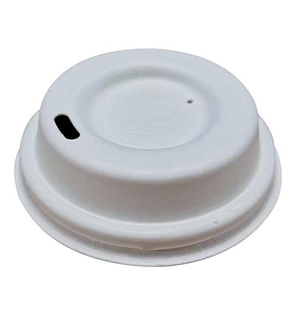Couvercle Avec Trou en Fibre Moulée Blanc Ø6,2cm (50 Utés)
