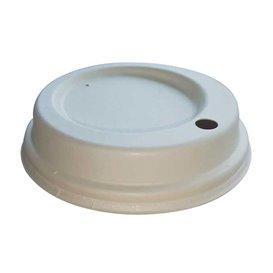 Couvercle Avec Trou en Fibre Moulée Blanc Ø9cm (50 Utés)