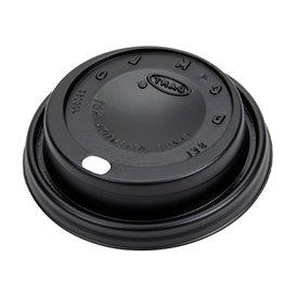 Couvercle Noir avec passage Gobelet Carton Ø8,1cm (100 Unités)