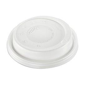 """Couvercle plastique PS """"Cappuccino"""" Blanc Ø8,6cm (100 Unités)"""