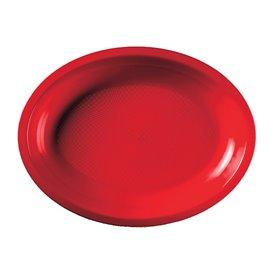 Plateau Plastique Réutilisable Ovale Rouge PP 255x190mm (600 Utés)