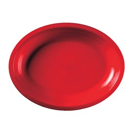 Plateau Plastique Réutilisable Ovale Rouge PP 315x220mm (25 Utés)