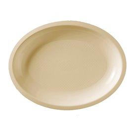 Plateau Plastique Réutilisable Ovale Crème PP 255x190mm (600 Utés)