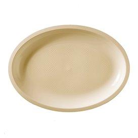 Plateau Plastique Réutilisable Ovale Crème PP 315x220mm (25 Utés)