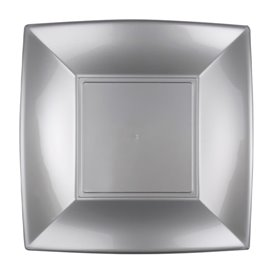 Assiette Plastique Réutilisable Plate Grise PP 180mm (25 Utés)