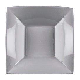 Assiette Plastique Réutilisable Creuse Gris PP 180mm (25 Utés)