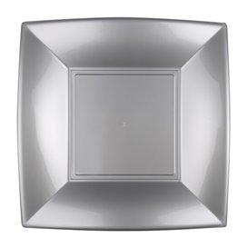 Assiette Plastique Réutilisable Plate Gris PP 230mm (25 Utés)