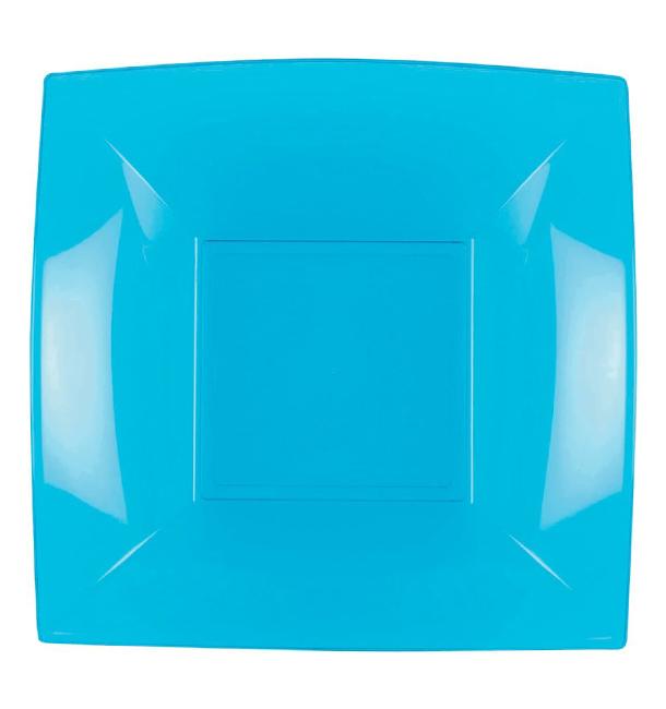 Assiette Plastique Réutilisable Creuse Turquoise PP 180mm (25 Utés)