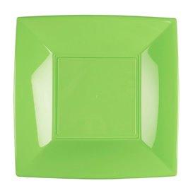 Assiette Plastique Réutilisable Plate Vert citron PP 180mm (300 Utés)