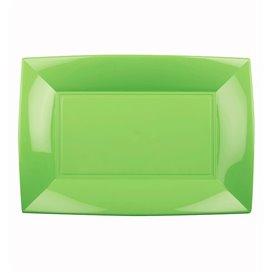 Plateau Plastique Vert citron Nice PP 280x190mm (12 Utés)