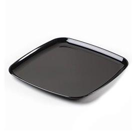 Plateau carré en plastique dur Noir 27x27 cm (25 Utés)