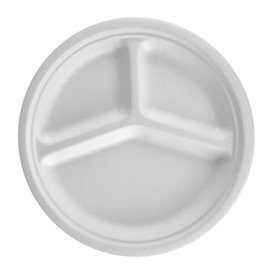 Assiette Bio en Canne à Sucre 3C Blanc Ø260mm (50 Unités)
