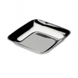 Assiette Carrée Dégustation Argenté 6x6x1cm (50 Unités)